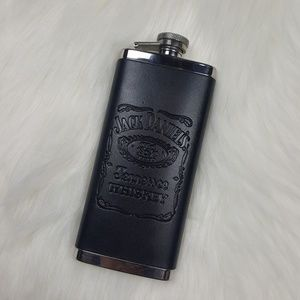 Jack Daniels Stainless Steel Leather 5oz Hip Flask